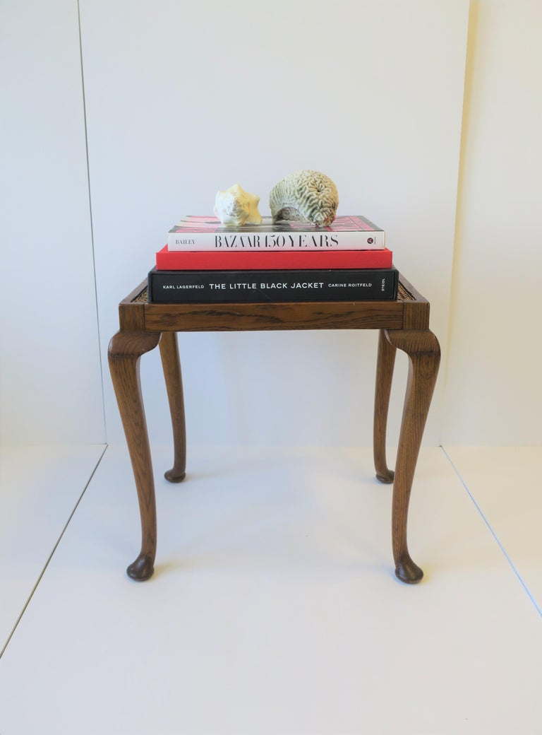 Wicker Cane and Wood Side or End Table For Sale 2
