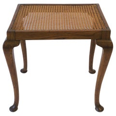 Wicker Cane and Wood Side or End Table
