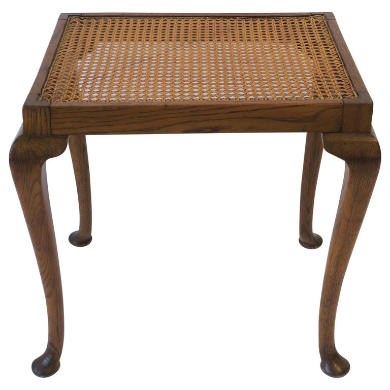 Wicker Cane and Wood Side or End Table For Sale
