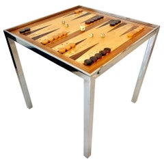 Wood and Chrome Backgammon/Chess Table