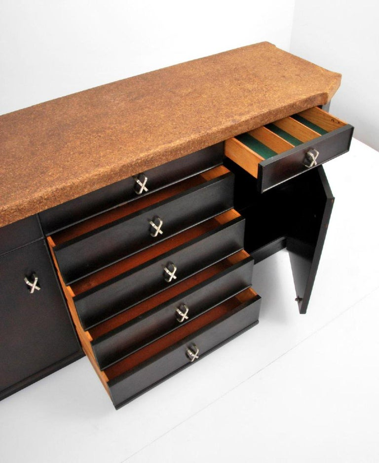 Gorgeous and rare Paul Frankl cabinet with a cork top.