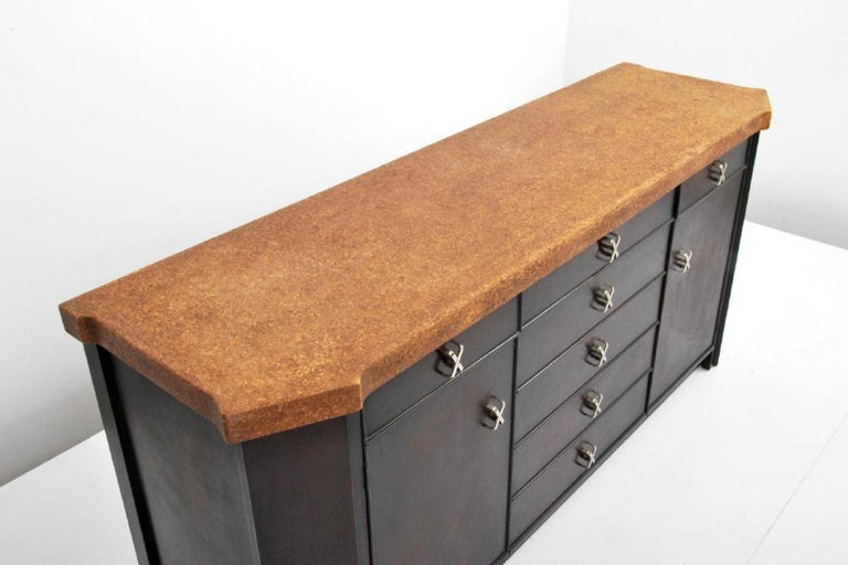 American Wood and Cork Cabinet by Paul Frankl for Johnson Furniture, USA, 1960s For Sale