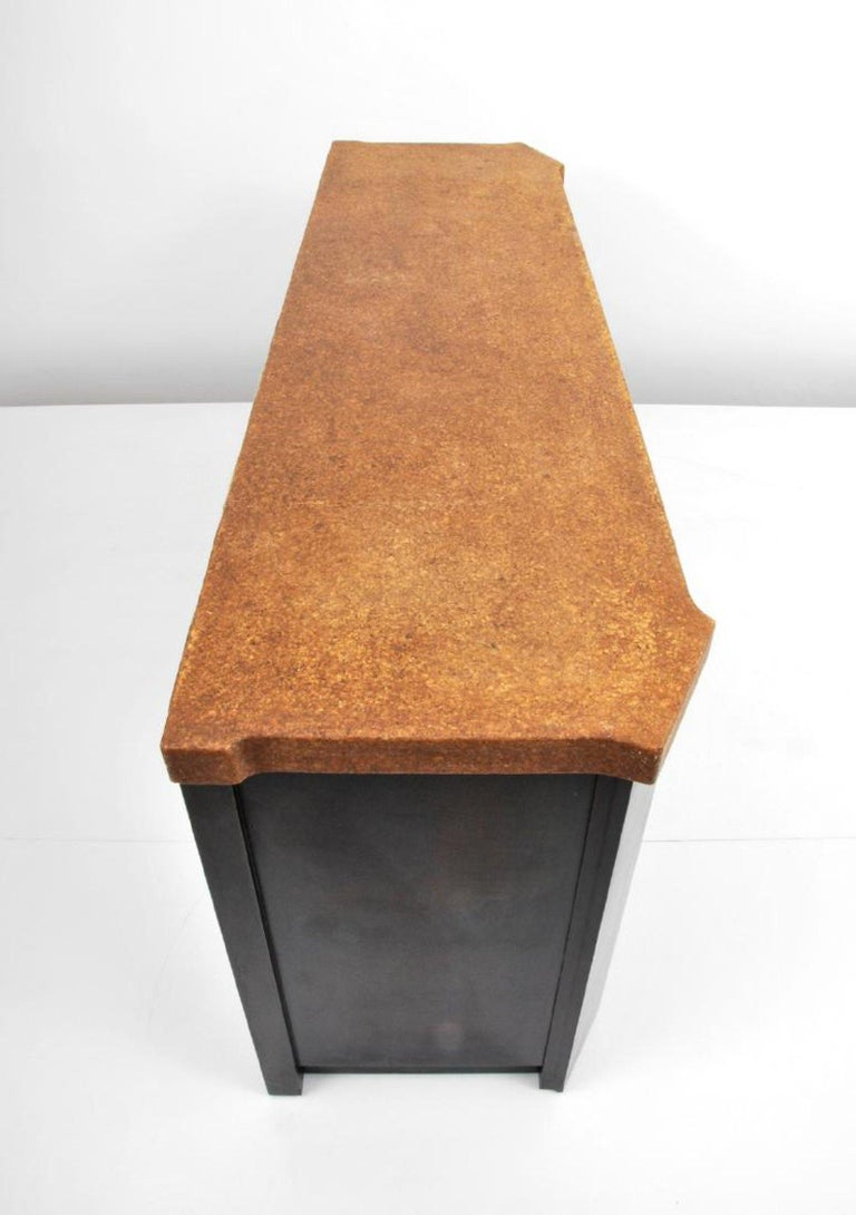 Mid-20th Century Wood and Cork Cabinet by Paul Frankl for Johnson Furniture, USA, 1960s For Sale