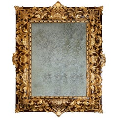 Wood and Gilt Bronze Wall Mirror, France, Late 19th Century