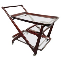 Wood and Glass Serving Bar Cart by Cesare Lacca, Italy, 1950s