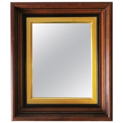 Wood and Gold Giltwood Framed Wall or Vanity Area Mirror