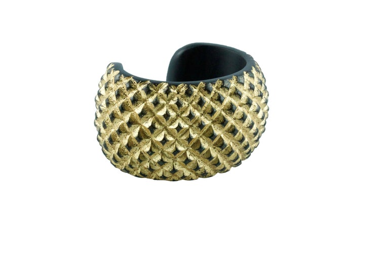 Wood and Gold Leaf Parure Set, Cuff Bracelet Necklace In New Condition For Sale In Milano, IT