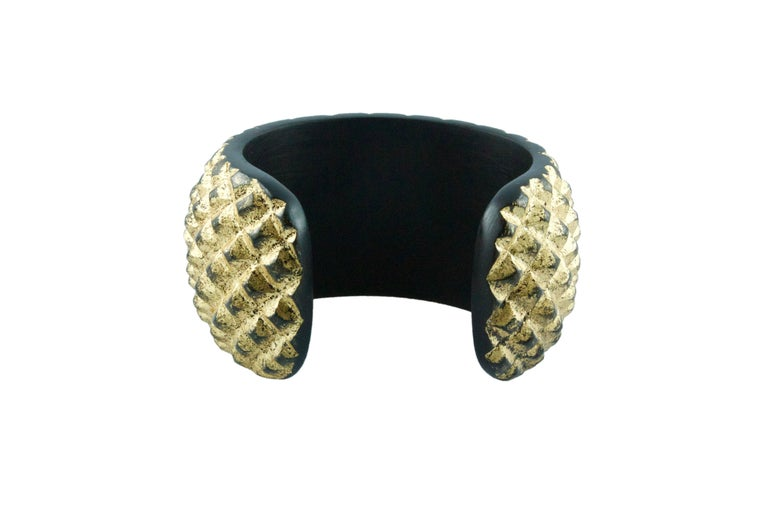 Women's Wood and Gold Leaf Parure Set, Cuff Bracelet Necklace For Sale