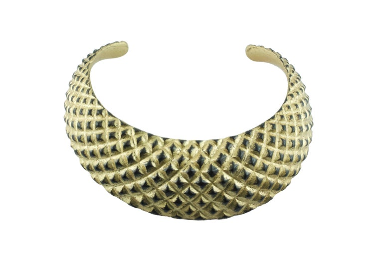 Wood and Gold Leaf Parure Set, Cuff Bracelet Necklace For Sale 1