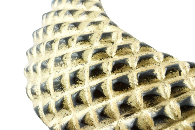 Wood and Gold Leaf Parure Set, Cuff Bracelet Necklace For Sale 2