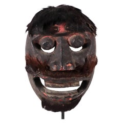 Wood and Hair Mask from Tribal Indonesia Probably Bali or Lombok Oceanic Art