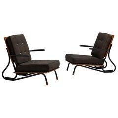 Wood and Lacquered Metal Armchairs