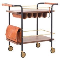 Wood and Leather Bar Cart, Valet