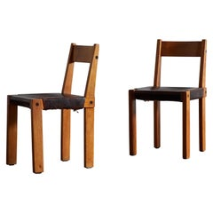 Wood and Leather Dining Chairs by Pierre Chapo