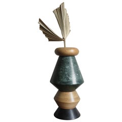 """Wood and Marble Contemporary Sculpture, Candleholders, Flower Vase """"iTotem"""""""