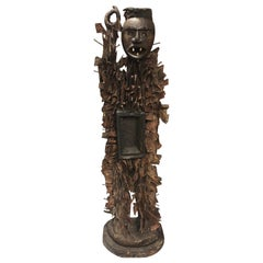 Wood and Metal African Tribal Idol of Early 19th Century