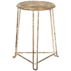 Wood and Metal Modern Industrial Vintage Stool, Heavy Patina