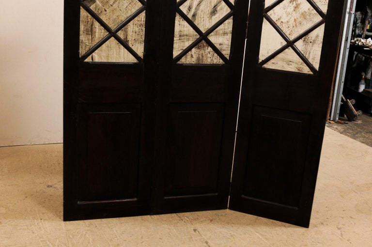 Wood and Mirrored Folding Screen, Mid-20th Century For Sale 6