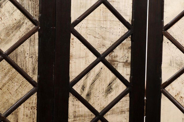 Wood and Mirrored Folding Screen, Mid-20th Century For Sale 8