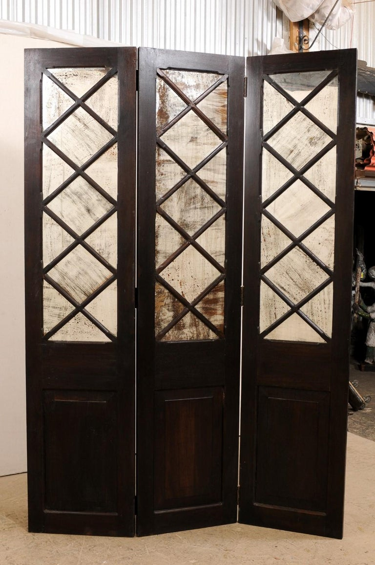 English Wood and Mirrored Folding Screen, Mid-20th Century For Sale