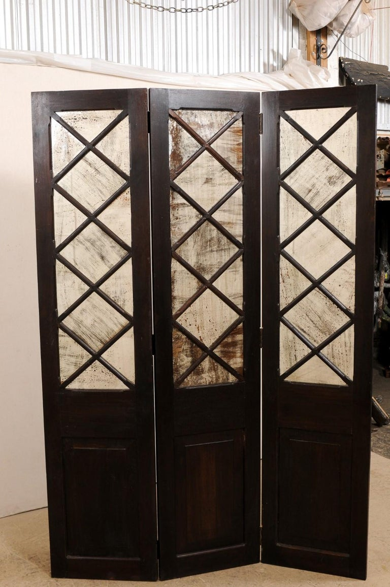 Wood and Mirrored Folding Screen, Mid-20th Century For Sale 1