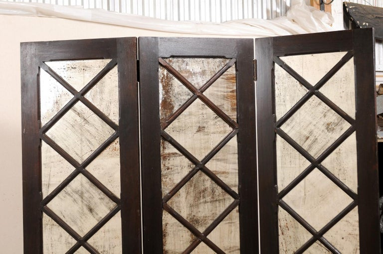 Wood and Mirrored Folding Screen, Mid-20th Century For Sale 2