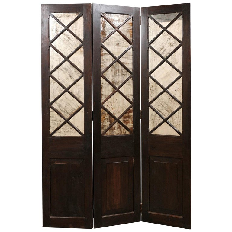 Wood and Mirrored Folding Screen, Mid-20th Century For Sale