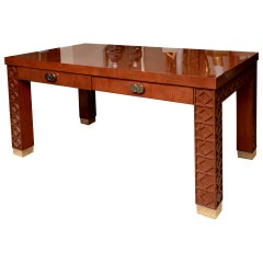 Wood and Nickel Silver Desk with Diamond Frette Work Vintage