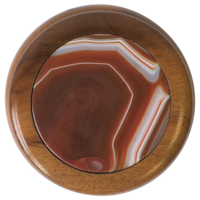 Wood and Onyx Agate Geode Round Jewelry or Trinket Box For Sale