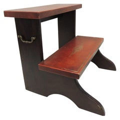 Wood and Red Leather Library Step with Brass Handles by Sarreid Ltd