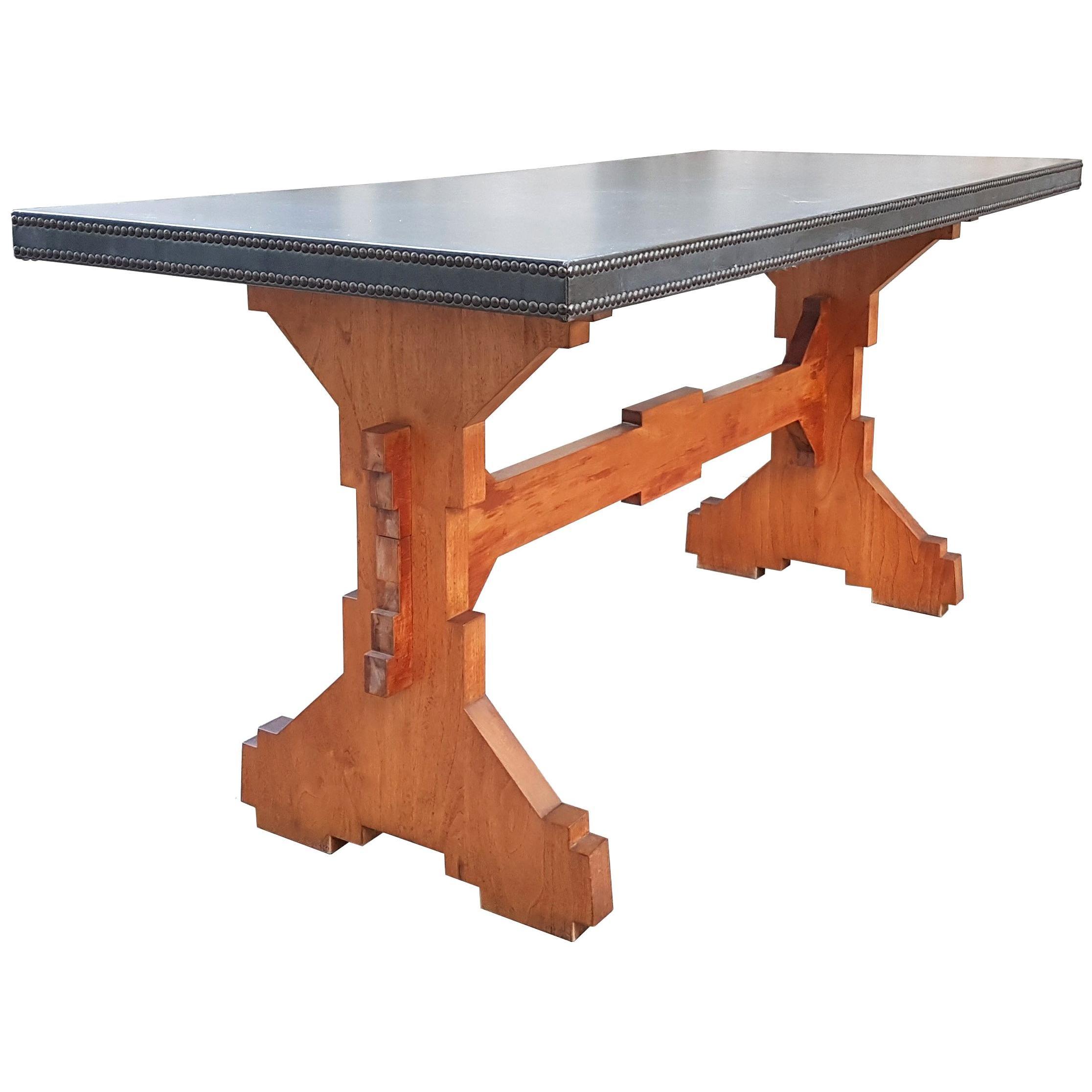 "Wood and Skai Italian ""Fratino"" Dining Table from 1950s"