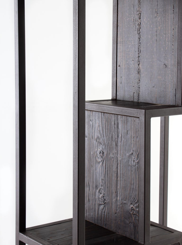 Industrial Wood and Steel off Set Etagere For Sale