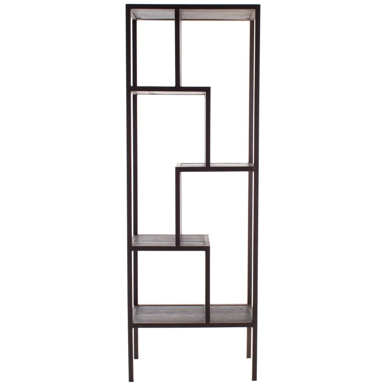 Wood and Steel off Set Etagere For Sale