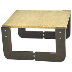 Wood and Travertine Side Table, in the Manner of Tobia Scarpa, Italy, 1960