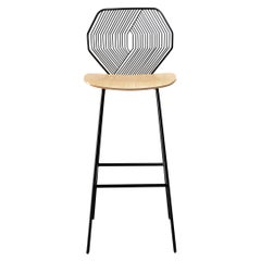 Wood and Wire Bar Stool