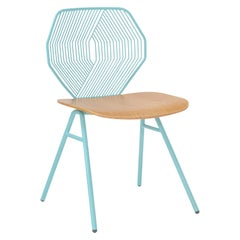 Wood and Wire Chair in Aqua by Bend Goods