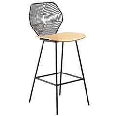 Wood and Wire Counter Stool in Black by Bend Goods