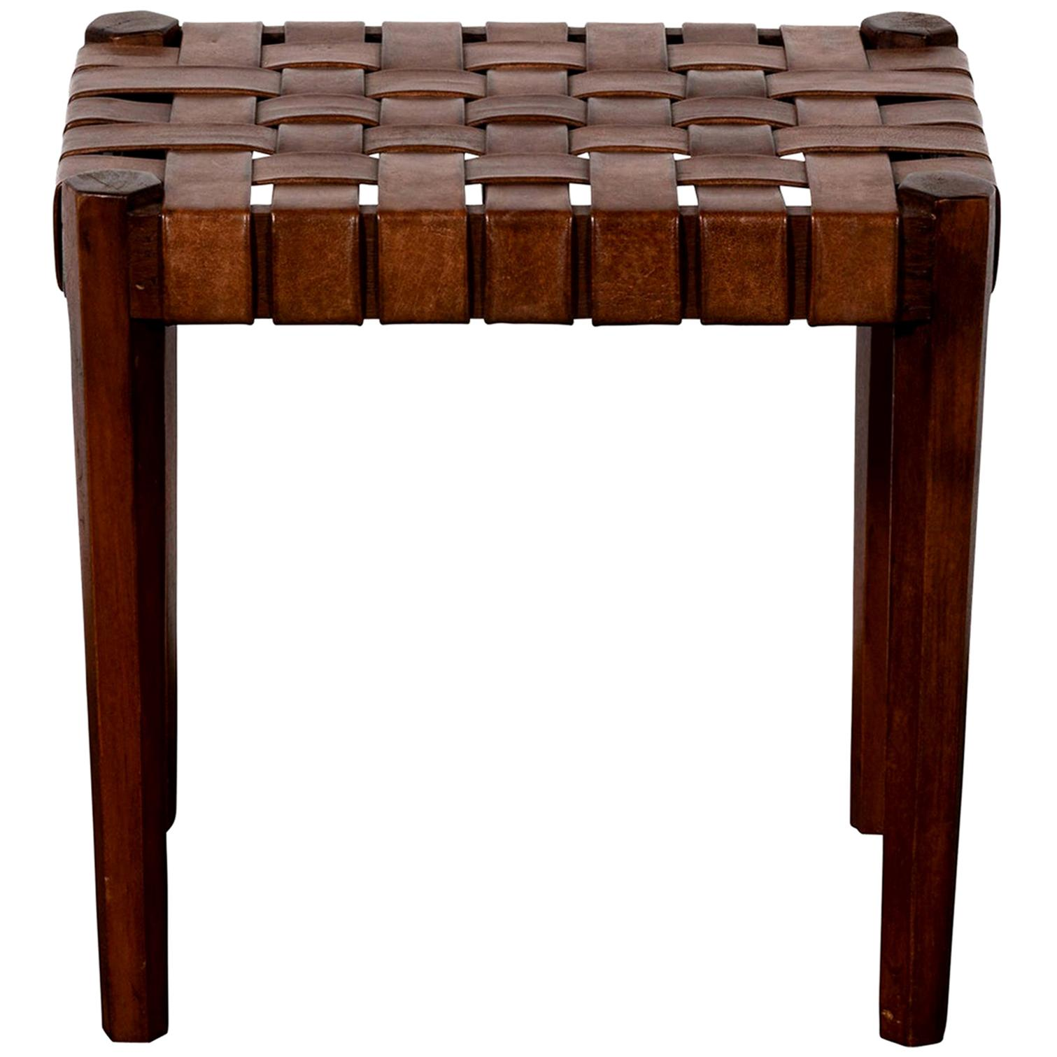Wood and Woven Leather Stools