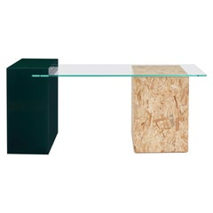 Wood Apart Desk in lacquered wood, OSB wood and tempered glass
