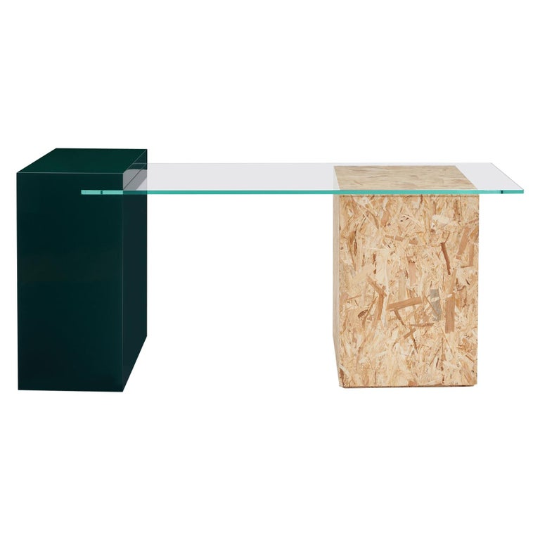 Wood Apart Desk in lacquered wood, OSB wood and tempered glass For Sale