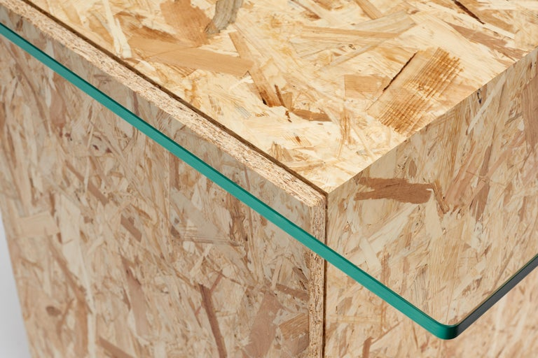 Minimalist Wood Apart Desk in lacquered wood, OSB wood and tempered glass For Sale