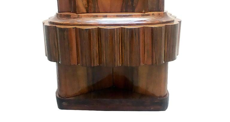 Walnut Wood Art Deco Italian Bedside Table, 1920 For Sale