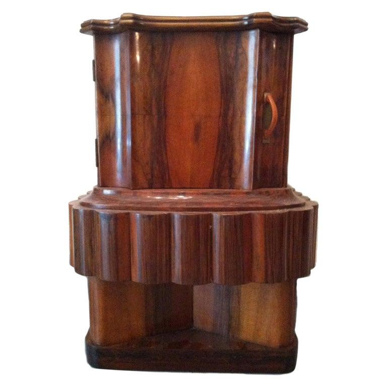 Wood Art Deco Italian Bedside Table, 1920 For Sale