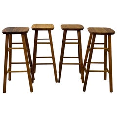 Wood Bar Stools with Square Seats, Set of 4