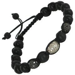 Wood Bead 1.60ct Black Diamond Ball Bracelet Silk Cord Estate Jewelry Pre Owned