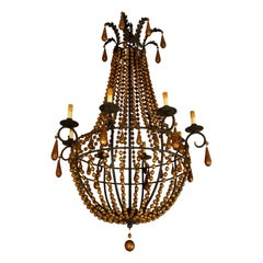 Wood Beaded Neoclassical Eight-Arm Chandelier
