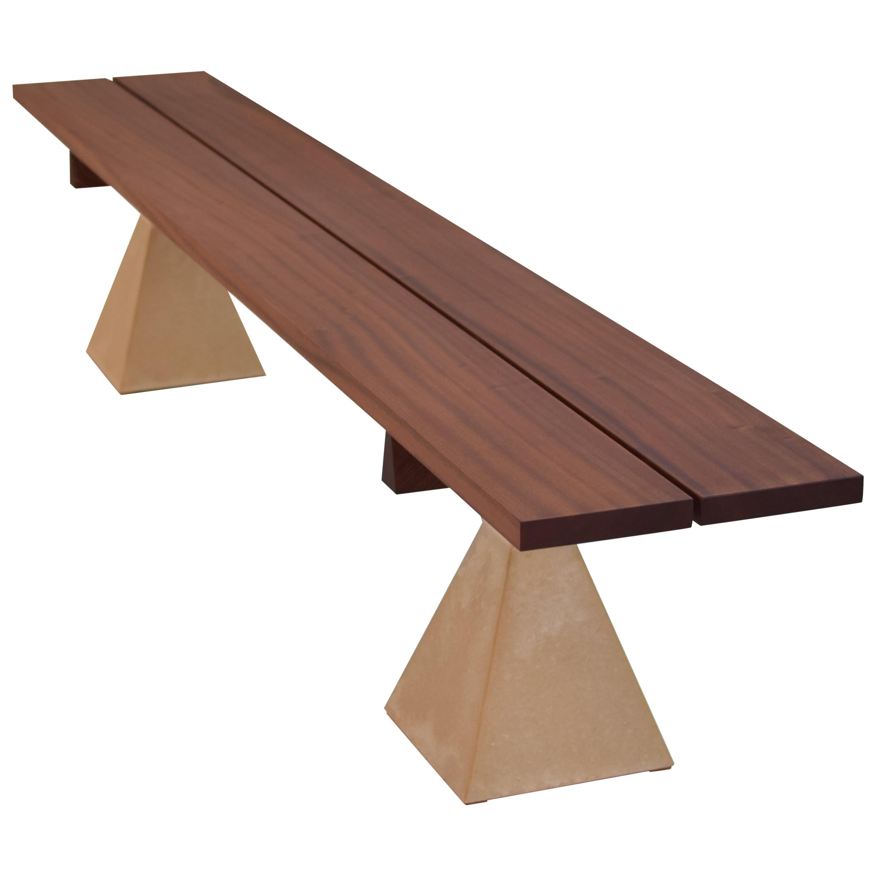 Wood Bench with Concrete Base