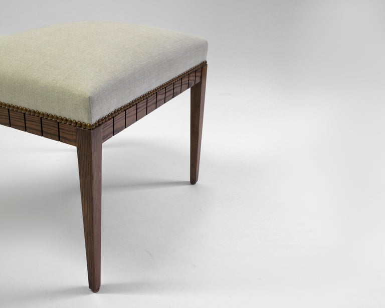 American Classical Wood Bench with Solid Seat and Hand-Carved Detail on Frame For Sale