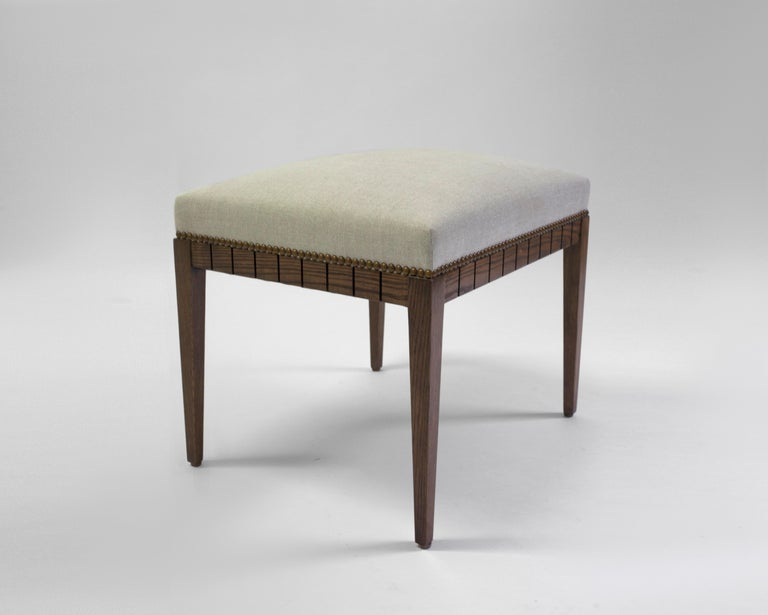 American Wood Bench with Solid Seat and Hand-Carved Detail on Frame For Sale
