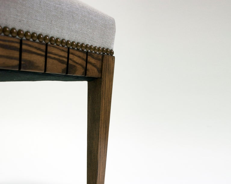 Hand-Crafted Wood Bench with Solid Seat and Hand-Carved Detail on Frame For Sale